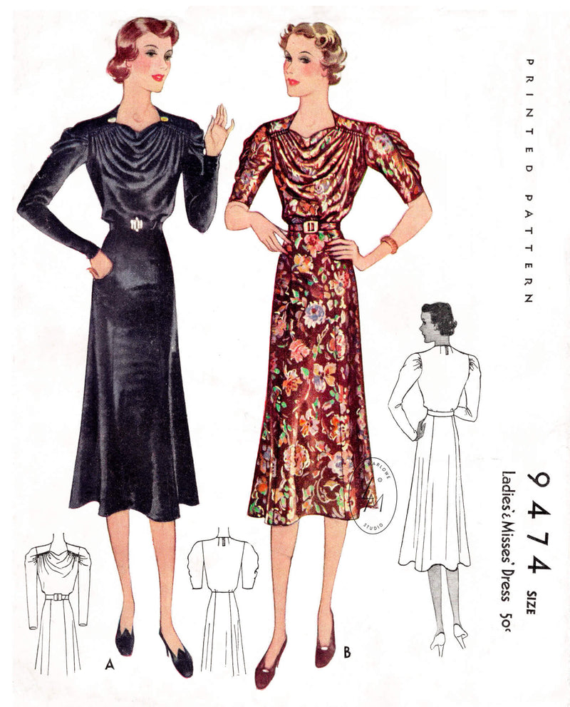 McCall 9474 1930s 1937 vintage sewing pattern dress