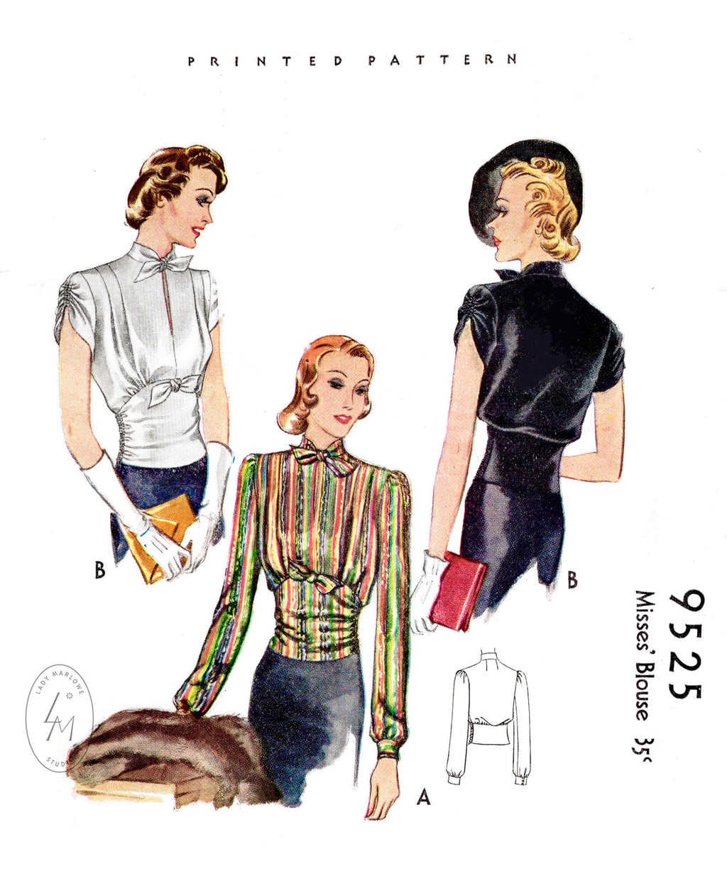 1930s 1937 day or evening blouse McCall 9525 narrow tie collar shirring detail sleeves corset waist vintage sewing pattern reproduction