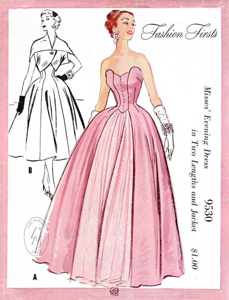 1950s 1953 evening gown or day dress & cocoon jacket vintage sewing pattern reproduction petal shaped bodice bouffant skirt McCall's 9530