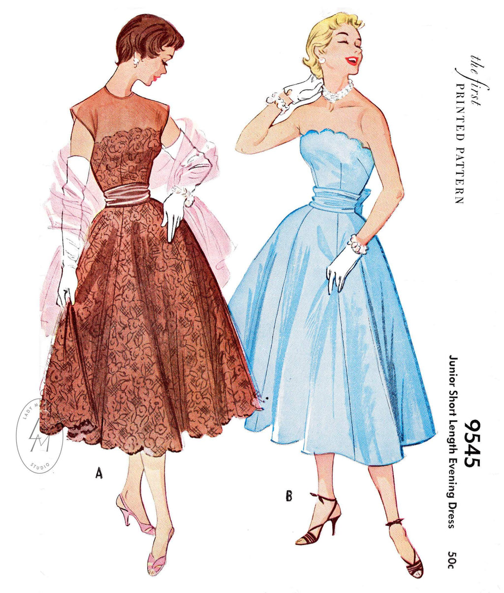 1950s 1953 cocktail evening party dress  McCall's 9545 lace scallop edge bustier full skirt cummerbund waist vintage sewing pattern reproduction