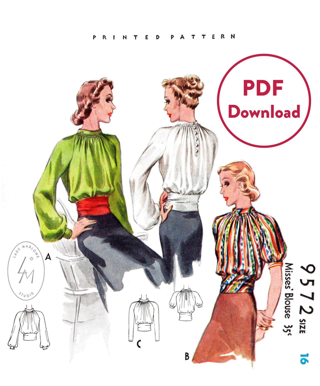 McCall 9572 1930s blouse with sash waist vintage sewing pattern PDF