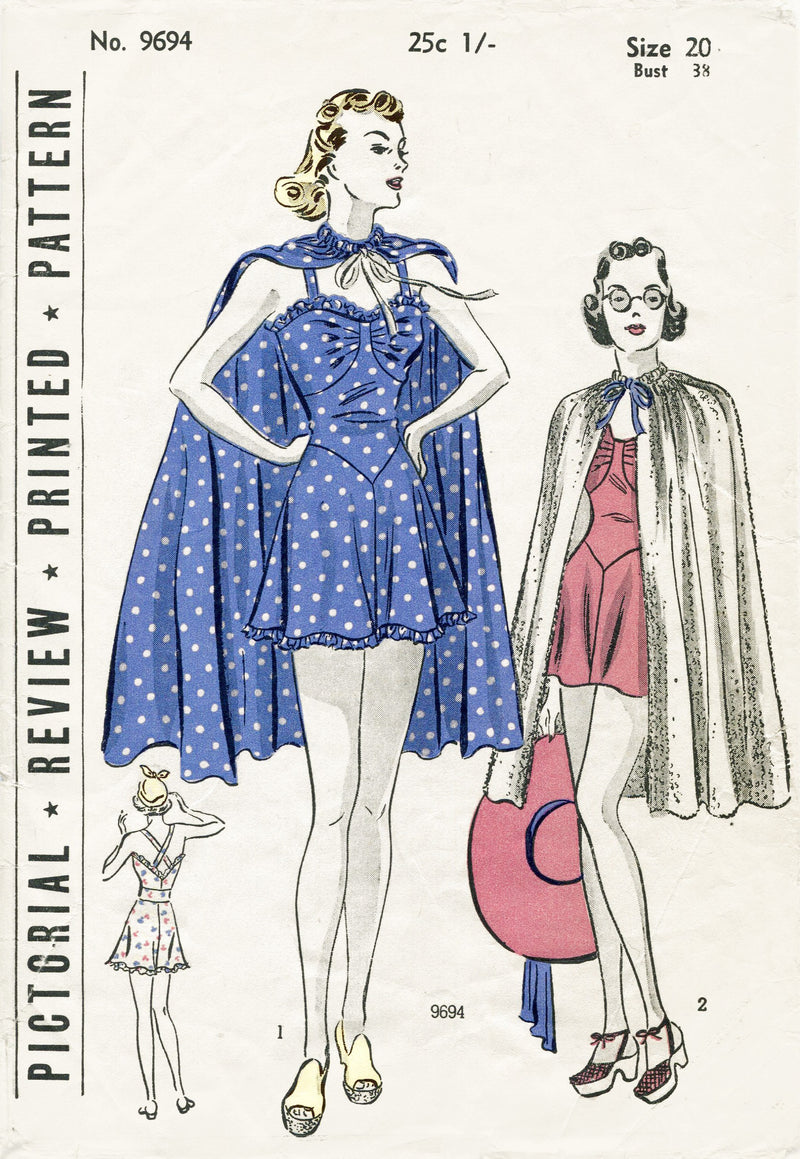 Pictorial Review 9694 1930s beachwear vintage sewing pattern cape playsuit