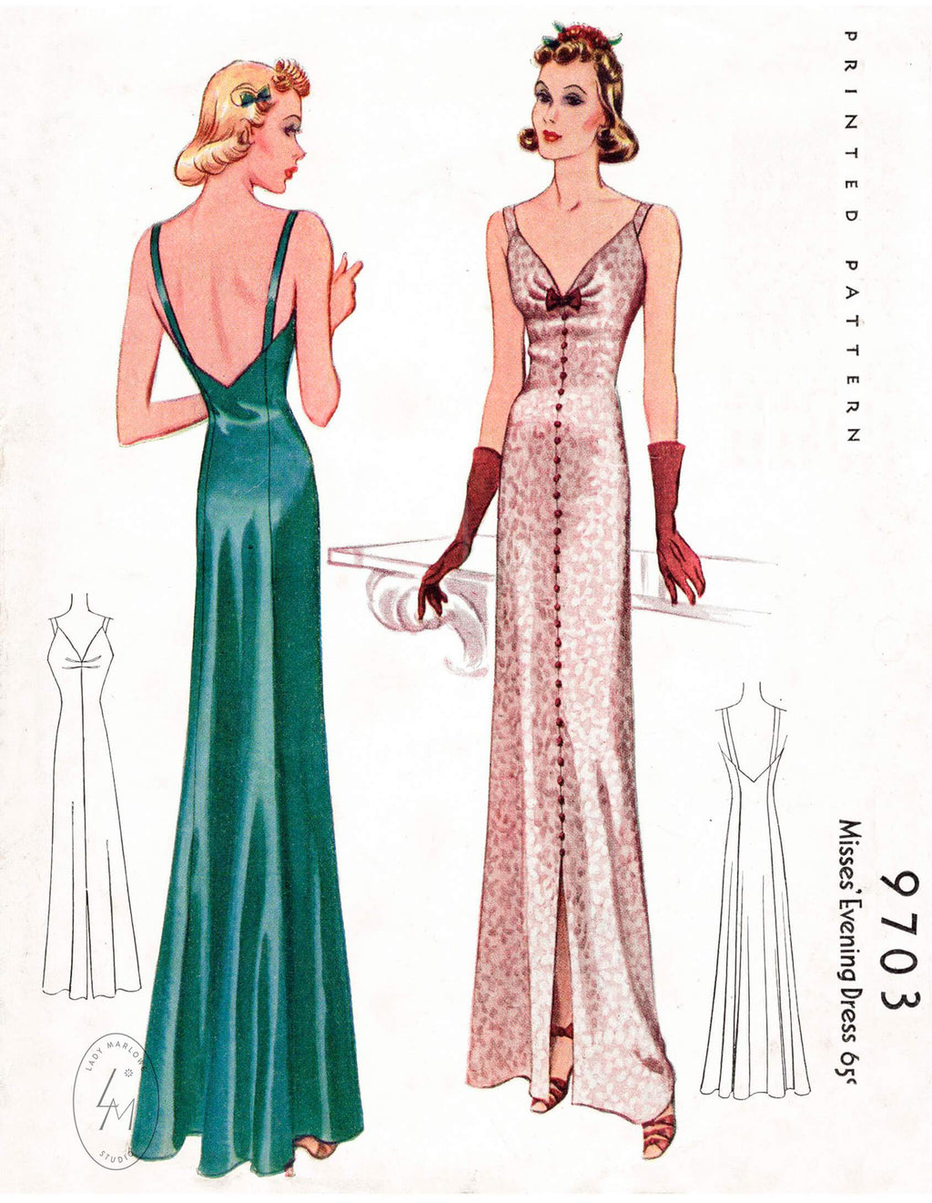1930s 1938 McCall 9703 evening dress shoulder straps slip dress vintage sewing pattern reproduction