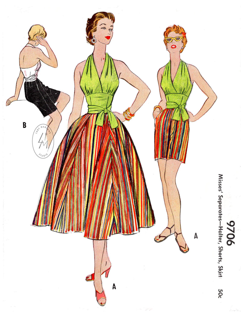 1950s sewing pattern tie waist halter top, high waist midi shorts, full sun skirt. McCall 9706 vintage sewing pattern reproduction