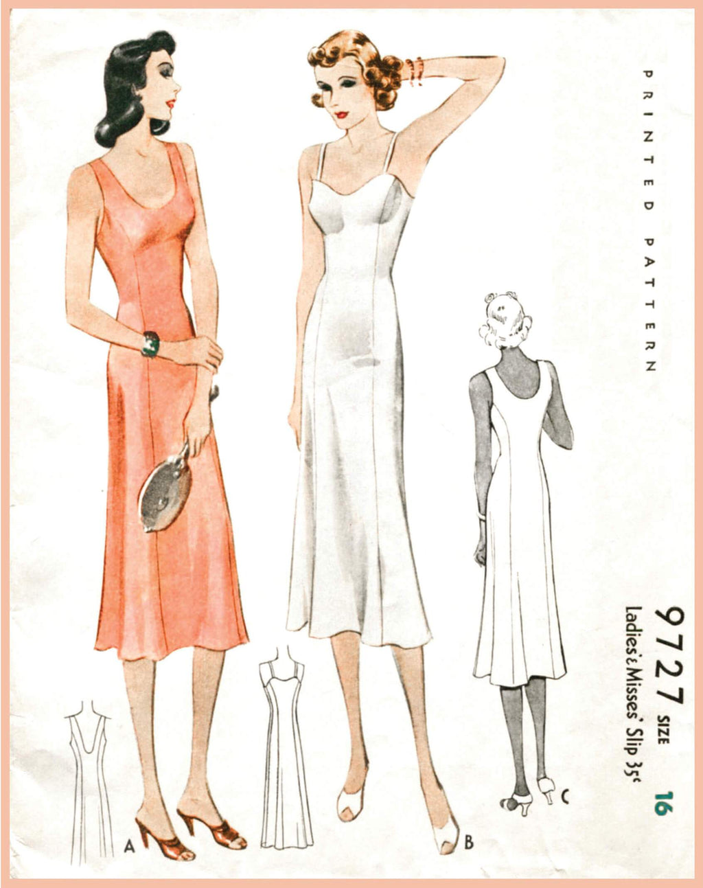 McCall 9727 1930s slip dress vintage sewing pattern 1930 30s lingerie