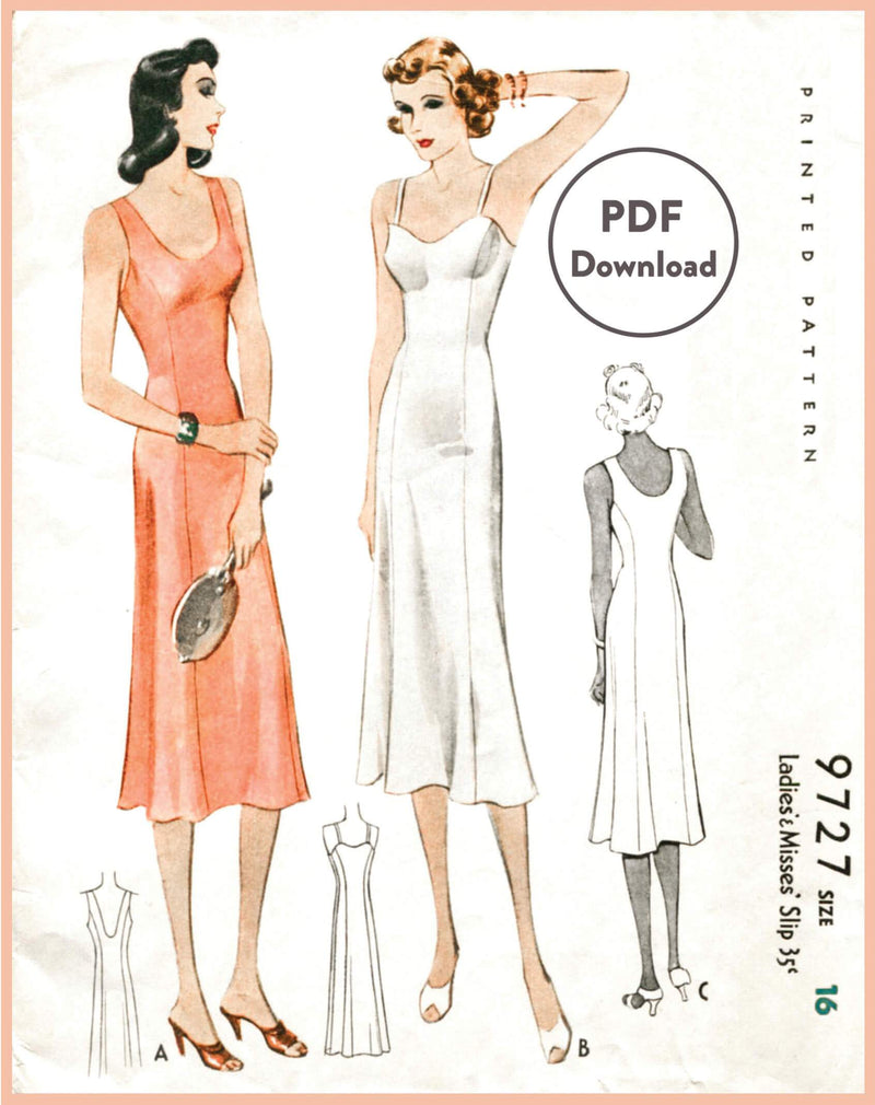 McCall 9727 1930s slip dress vintage lingerie sewing pattern PDF instant download