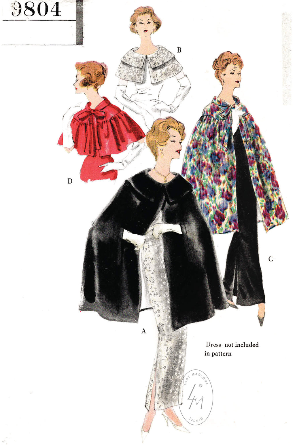 1950s 1960s capes capelets in 4 styles evening cocktail occasion vintage sewing pattern reproduction Vogue 9804