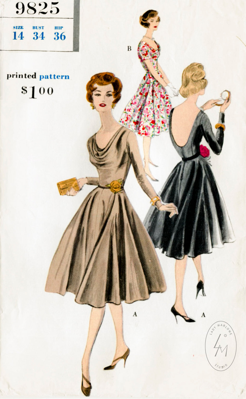 Vogue 9825 1950s dress sewing pattern vintage gown
