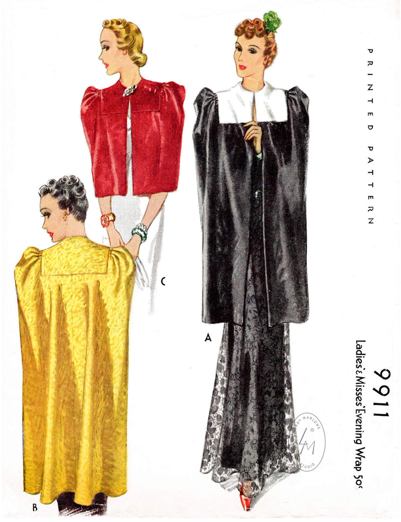 McCall 9911 vintage sewing pattern reproduction day or evening cape capelet in 3 lengths