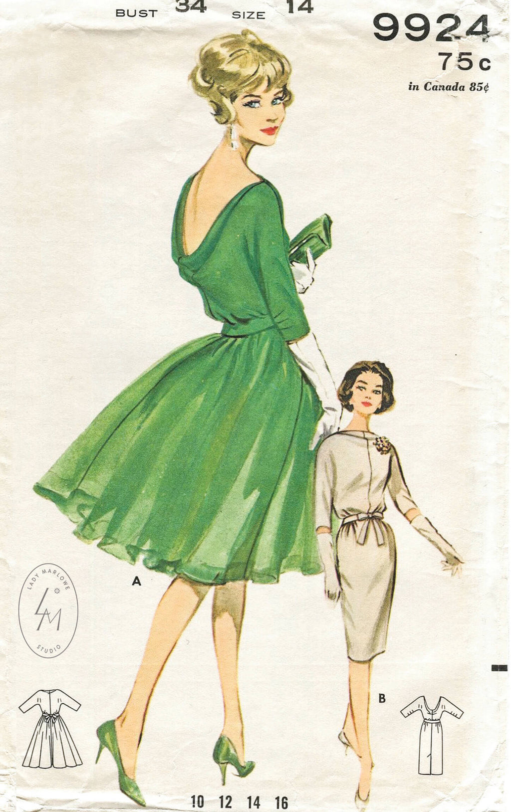 Butterick 9924 1960s cocktail dress sewing pattern