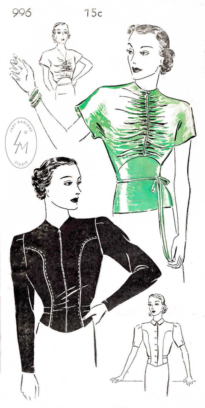 New York Pattern 996 set of blouses in 4 styles, front ruching, girdle waist, long sleeves, short puff sleeves. Vintage sewing pattern reproduction