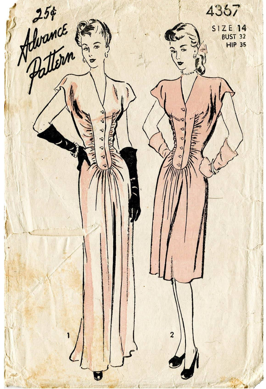 Advance 4367 1940s film noir dress vintage sewing pattern