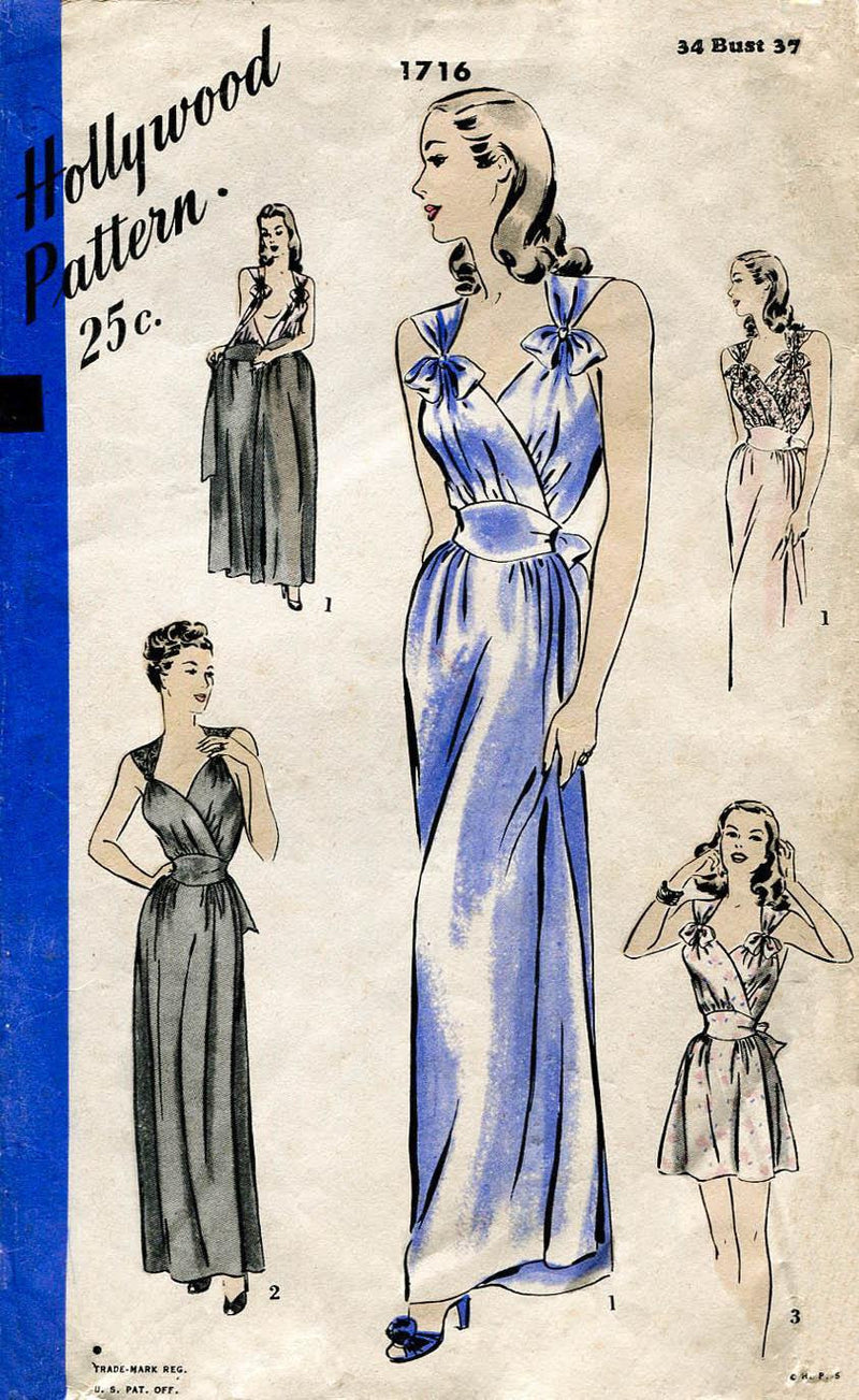 Hollywood 1716 1940s vintage lingerie sewing pattern