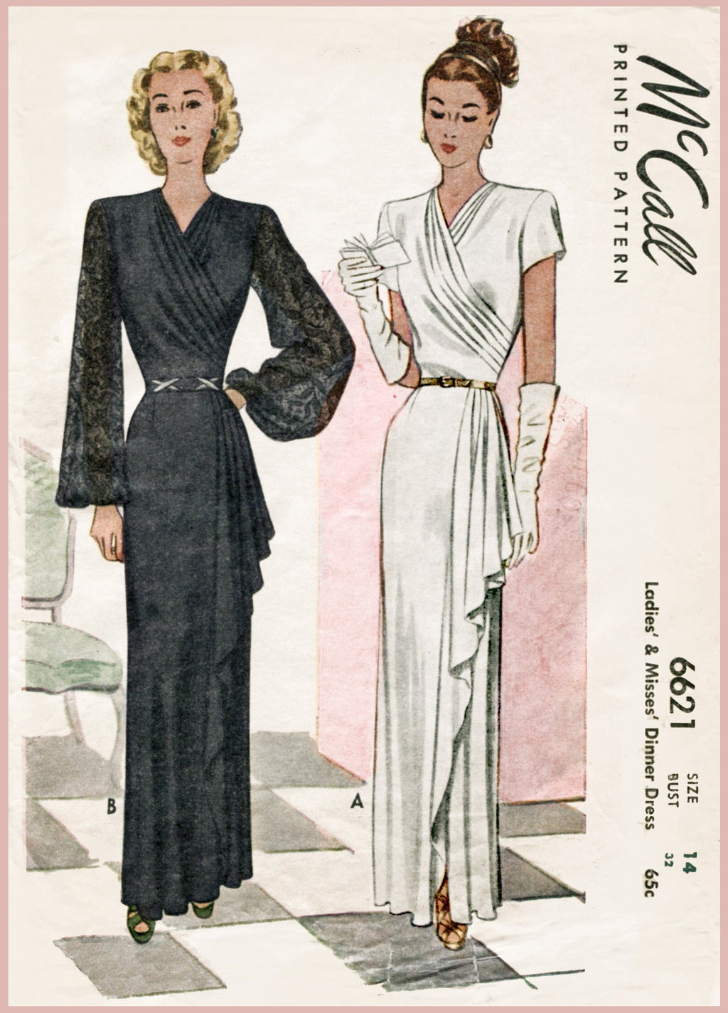 McCall 6621 1940s evening gown sewing pattern