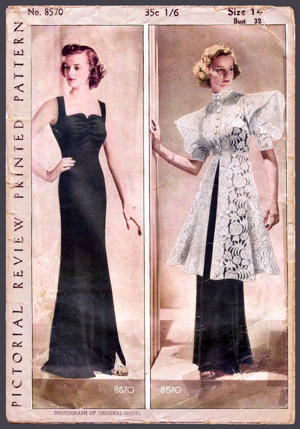 Pictorial Review 8570 1930s gown and tunic vintage sewing pattern