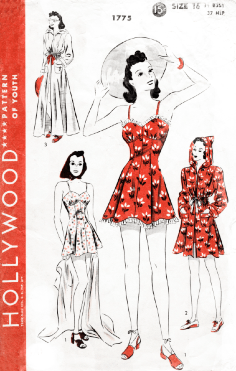 Hollywood 1775 1940s vintage bathing suit sewing pattern reproduction