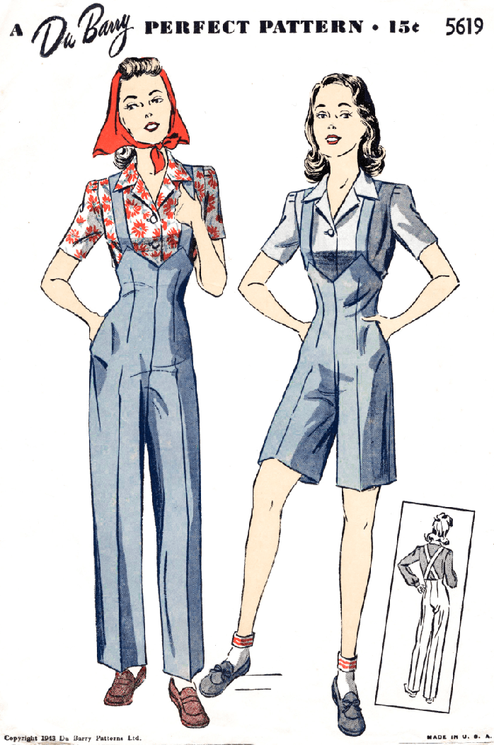 DuBarry 5619 1940s rosie the riveter trousers and blouse sewing pattern high waist suspender straps