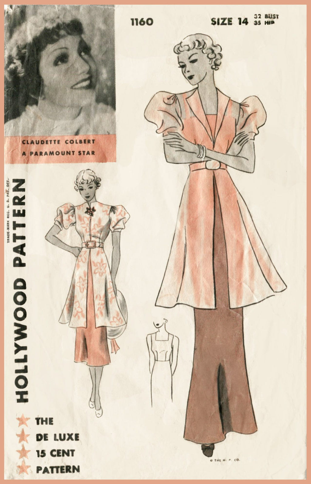 Hollywood 1160 Claudette Colbert 1930s tunic dress sewing pattern