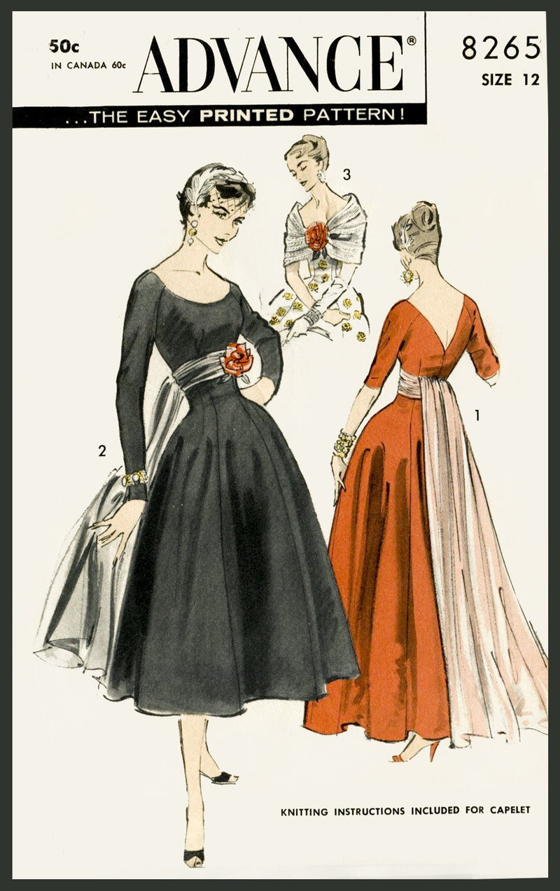 Advance 8265 1950s evening gown sewing pattern