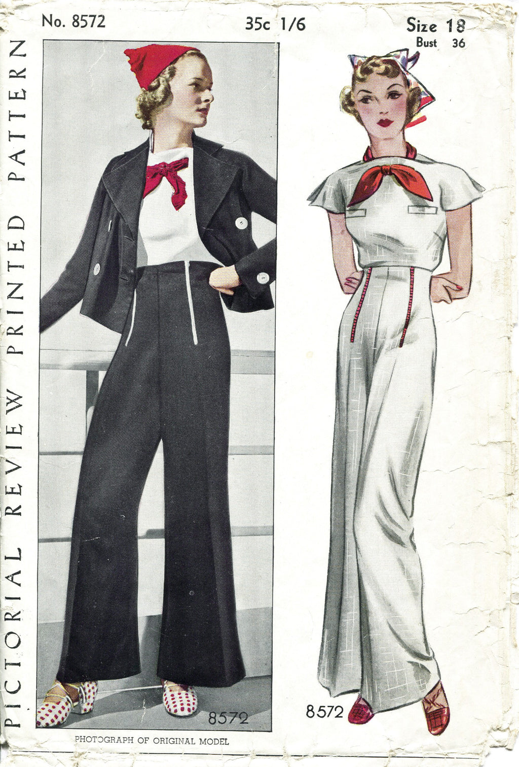 Pictorial Review 8572 1930s blouse & trousers sewing pattern
