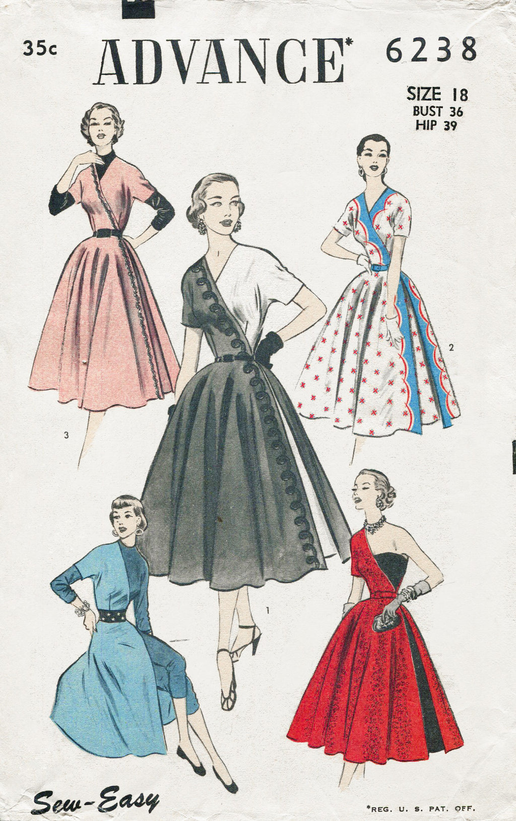 Advance 6238 1950s dress sewing pattern