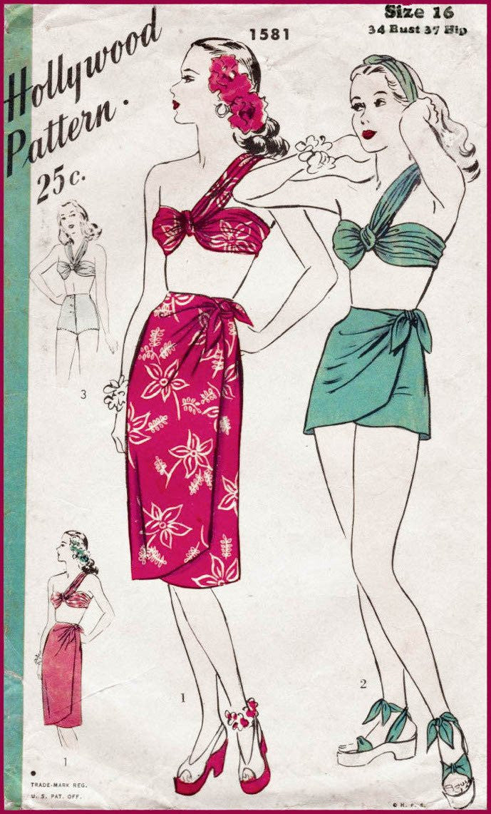 Hollywood 1581 1940s bikini top sarong skirt vintage sewing pattern