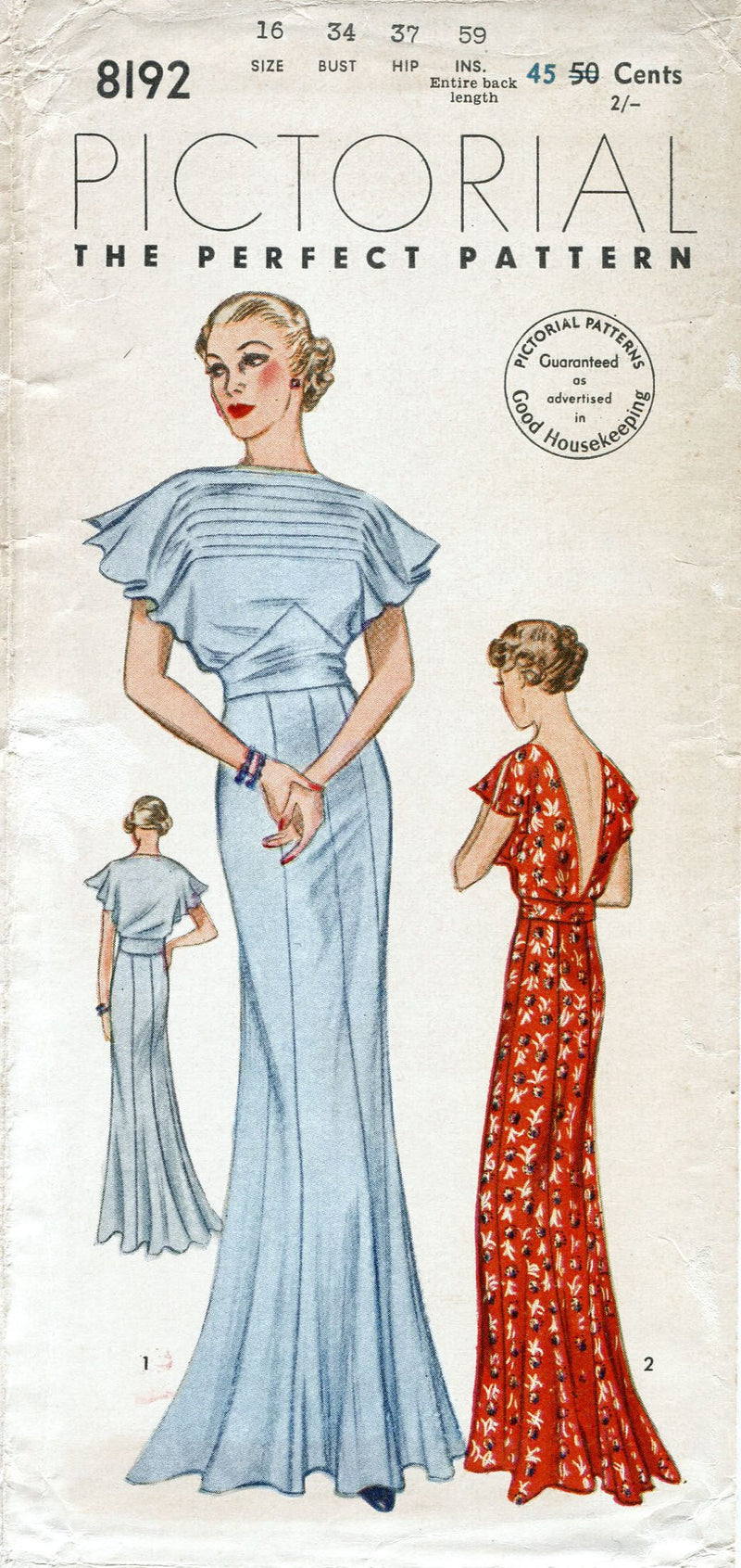 Pictorial Review 8192 1930s evening gown vintage sewing pattern
