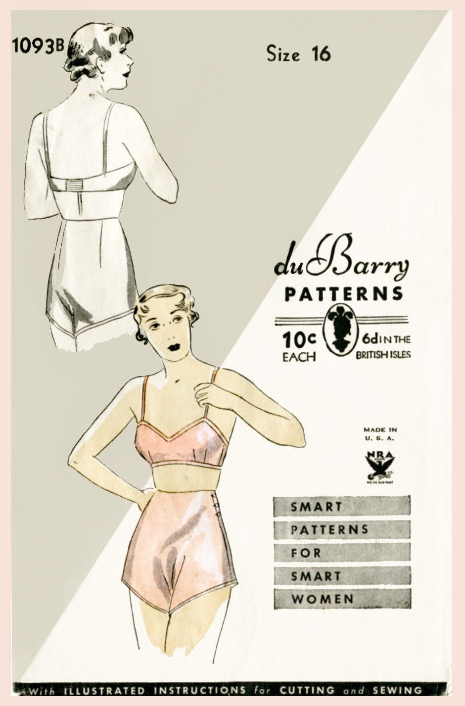 DuBarry 1093B 1930s bra and tap shorts vintage lingerie sewing pattern