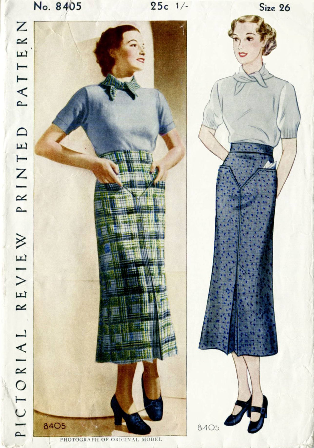 Pictorial Review 8405 1930s skirt vintage sewing pattern