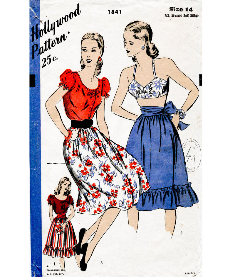 1940s 1946 Hollywood 1841 vintage sewing pattern reproduction 3 piece beachwear set peasant blouse, bra top, sun skirt