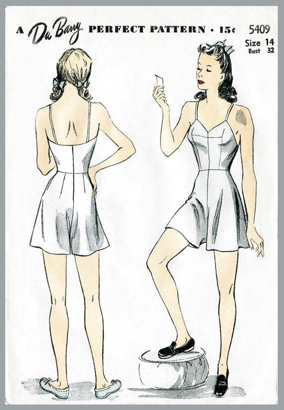 DuBarry 5409 1940s romper one piece vintage lingerie sewing pattern