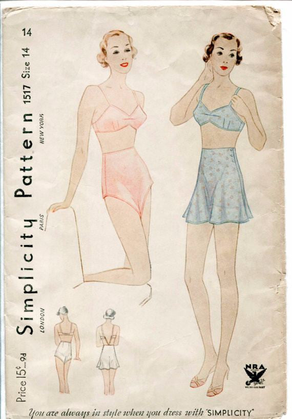 vintage lingerie sewing pattern 1930s bra panties set 1571