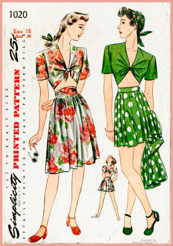 Simplicity 1020 1940s crop top and skirt vintage sewing pattern