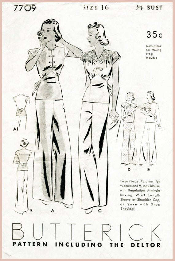Butterick 7709 1930s pajama vintage sewing pattern