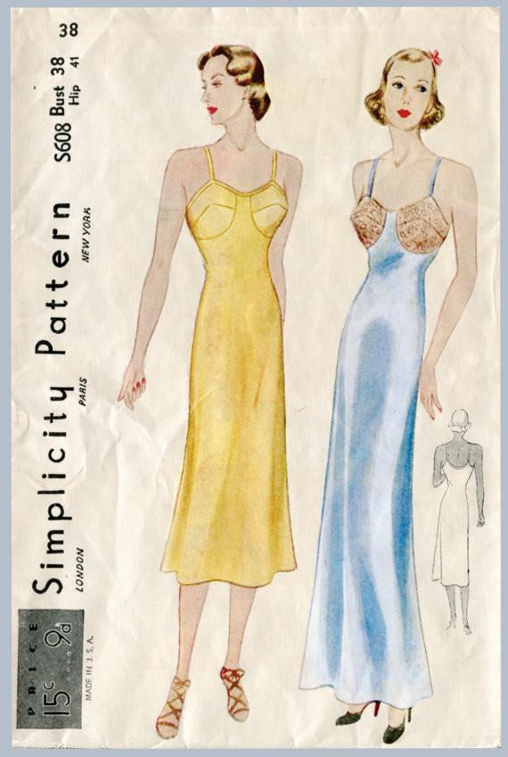 Simplicity S608 1930s vintage lingerie sewing pattern slip dress