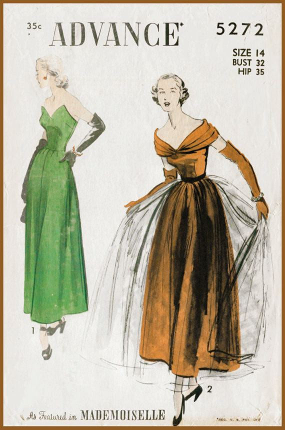 Advance 5272 1950s vintage gown sewing pattern