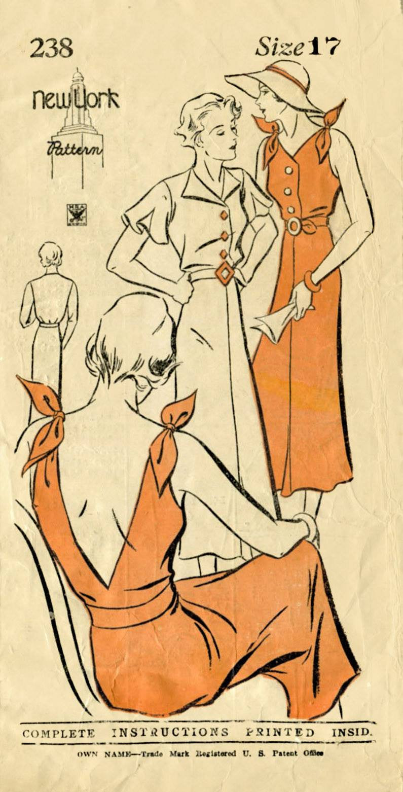 New York Pattern 238 1930s sun dress vintage sewing pattern