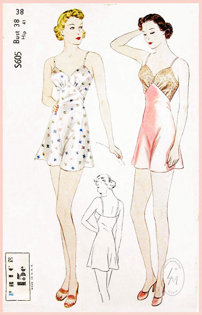 Simplicity S605 1930s step in romper vintage lingerie sewing pattern