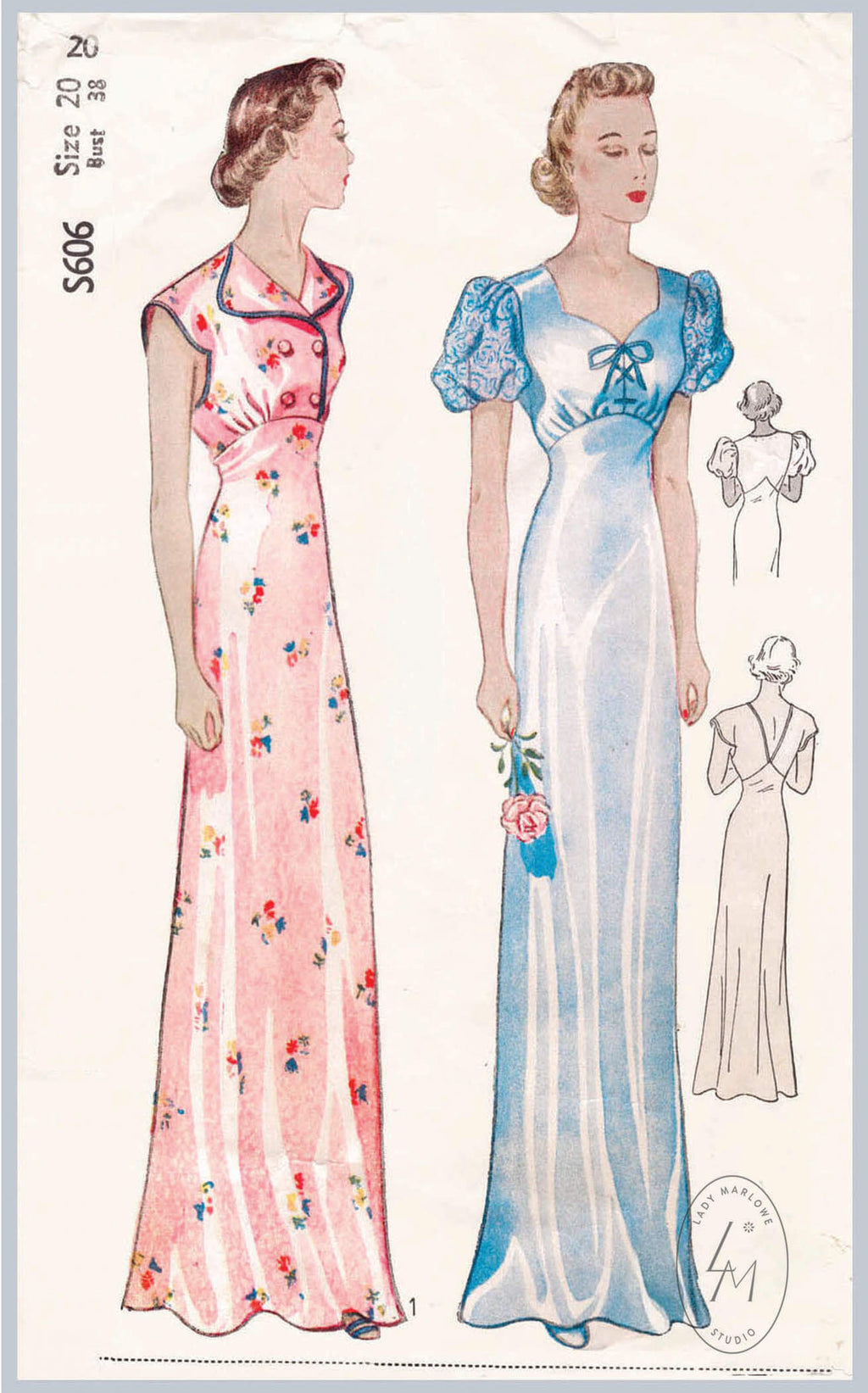 Simplicity S606 1930s negligee evening gown vintage lingerie sewing pattern