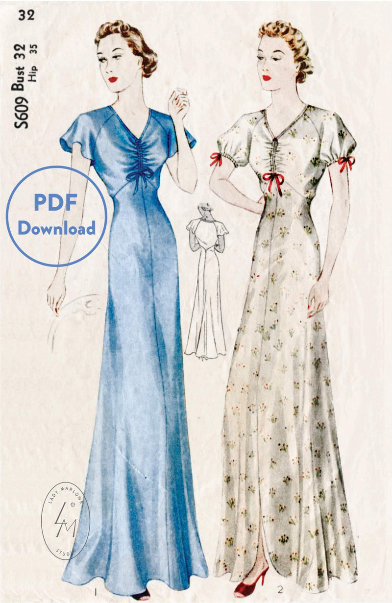 Simplicity S609 1930s vintage lingerie sewing pattern negligee gown PDF