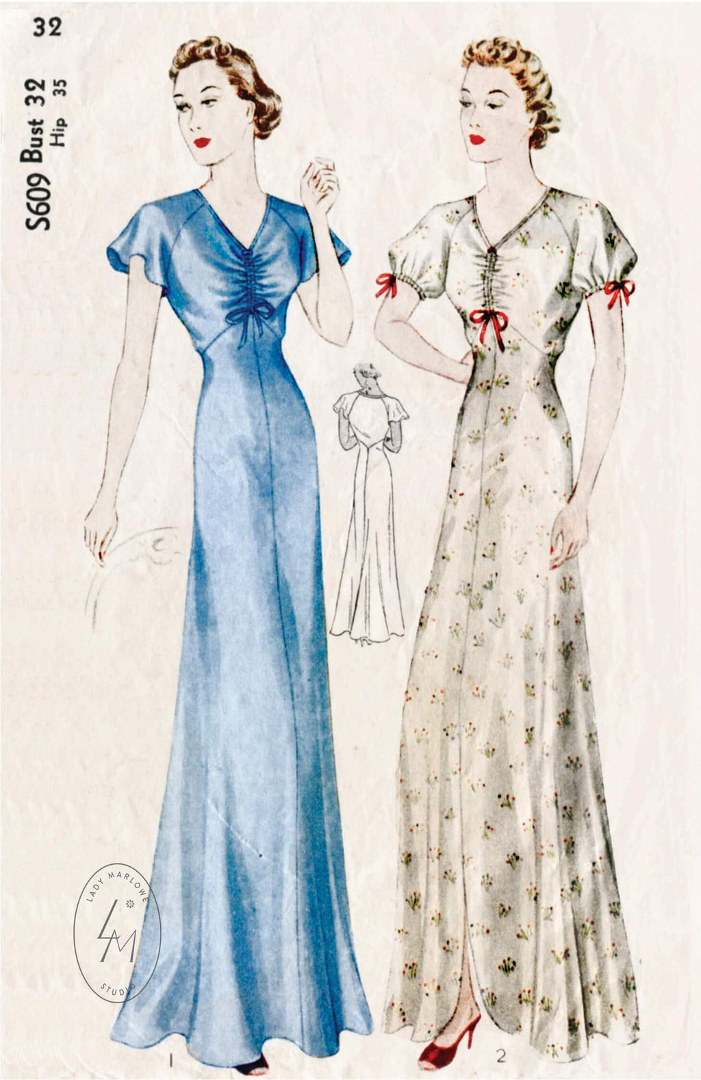 Simplicity S609 1930s vintage lingerie sewing pattern negligee gown