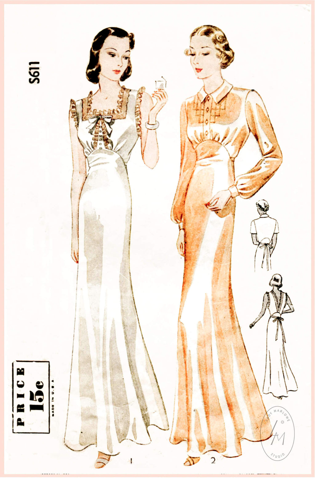 Simplicity S611 1930s vintage lingerie sewing pattern negligee gown