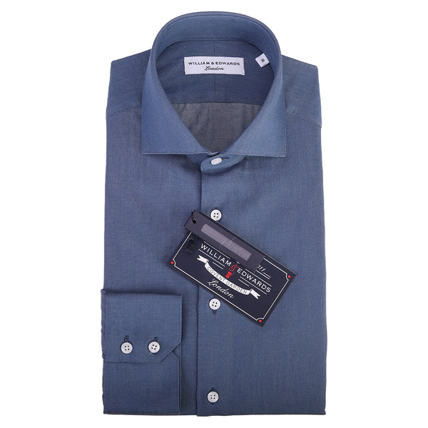 Indigo Denim Look Smart Casual Semi Cutaway  Collar Slim Fit Shirt