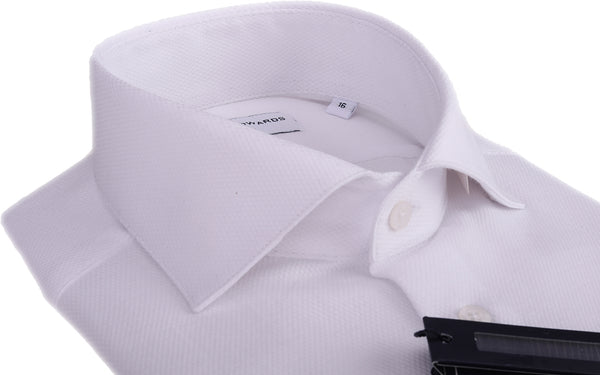 White Micro Square Dobby  Button Cuff Cutaway  Collar Shirt