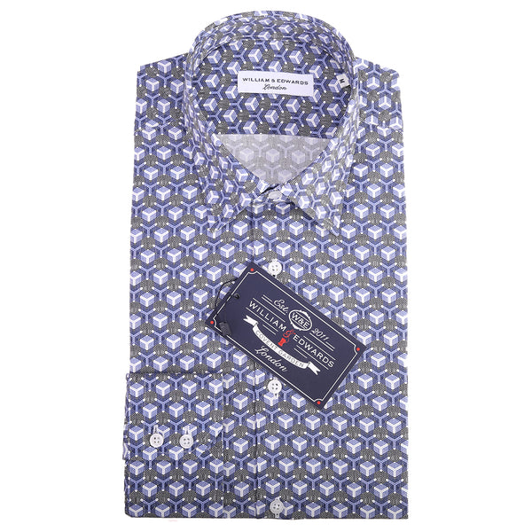 Luxury Casual 3D Cube  Print Slim Fit Limited Edition Party Shirts
