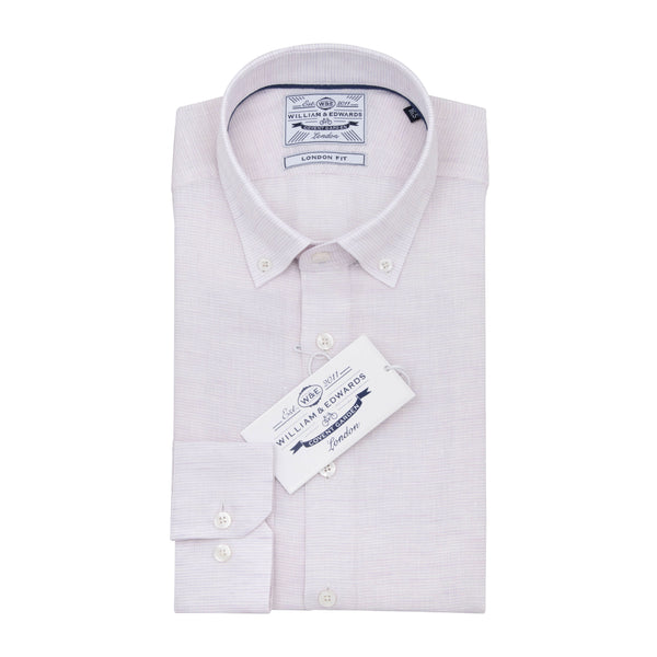 Pink Stripe Linen  Button Down Collar Slim Fit Shirt - luxury shirt williamandedwards