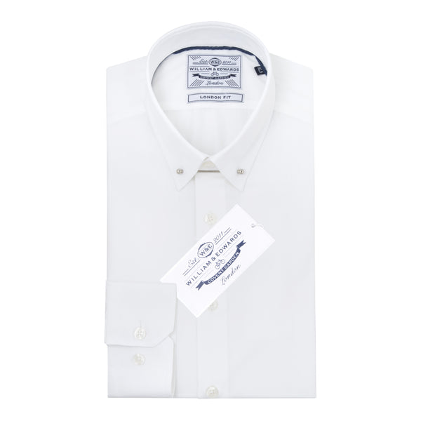 Pin Collar White Poplin Contrast collar Slim Fit  Luxury Dress Shirt - luxury shirt williamandedwards