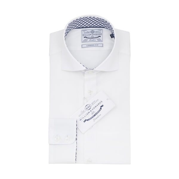 White Slim Fit Blue Plaid Contrast Collar Dobby Wave Luxury Dress Shirt - luxury shirt williamandedwards