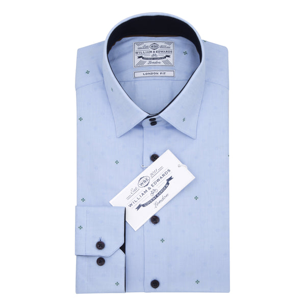 Blue Oxford  High Contrast Collar Club Embroidery  Slim Fit Shirt - luxury shirt williamandedwards