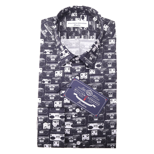 Luxury Casual Retro  Cassette Player Print Slim Fit Limited Edition Shirts